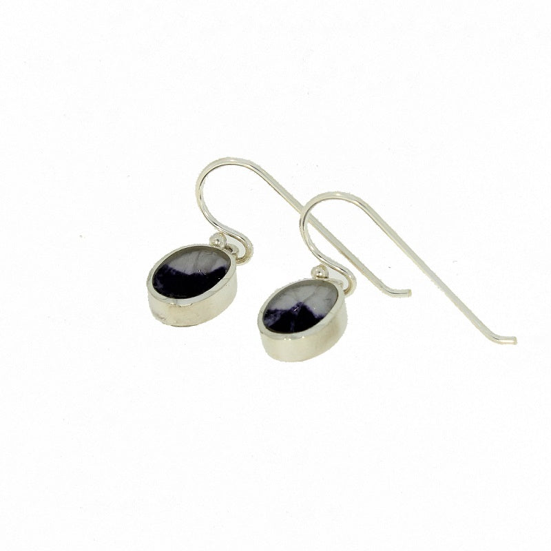 Derbyshire Blue John Sterling Silver Small Oval Drop Earrings - Hollins and Hollinshead