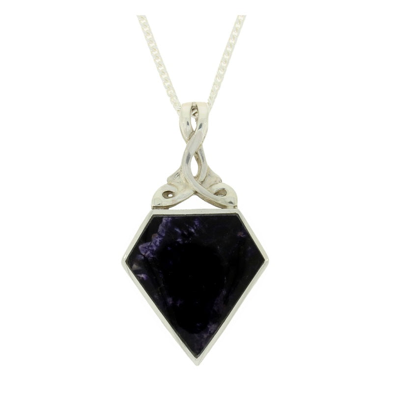 Derbyshire Blue John & Turritella Sterling Silver Reversible Pendant & Chain - Hollins and Hollinshead