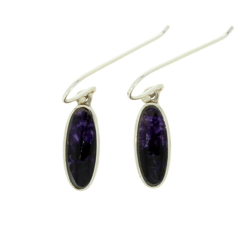 Derbyshire Blue John Sterling Silver Slim Oval Drop Earrings - Hollins and Hollinshead