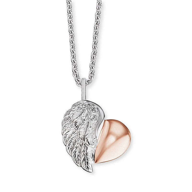 Engelsrufer Silver Heart Wing Necklace ERN-LILHEARTWING-BI - Hollins and Hollinshead