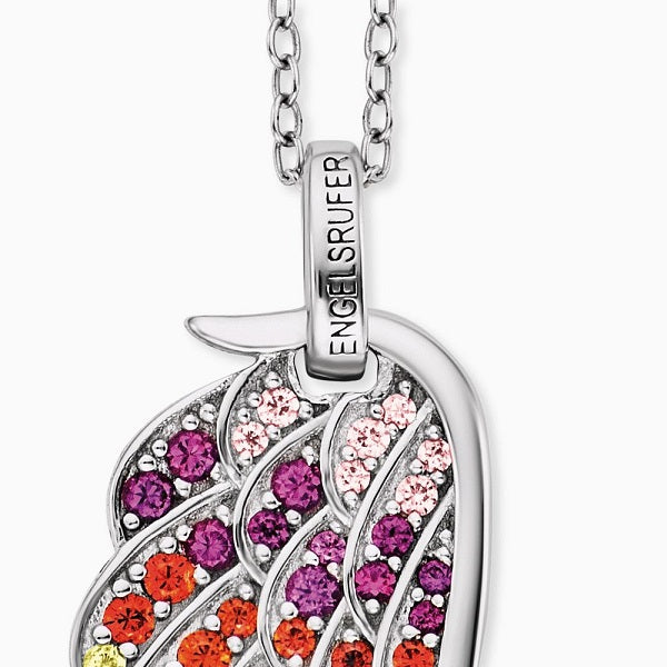 Engelsrufer Rainbow Angel Wing Necklace ERN-WING-ZIM - Hollins and Hollinshead