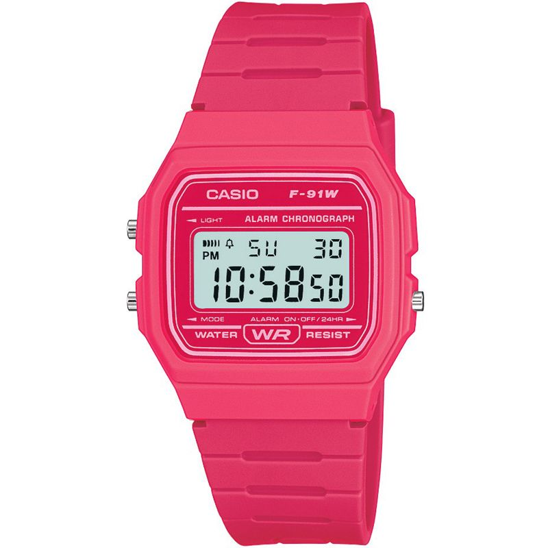 Casio Retro Collection Digital Pink Ladies Watch F-91WC-4AEF - Hollins and Hollinshead