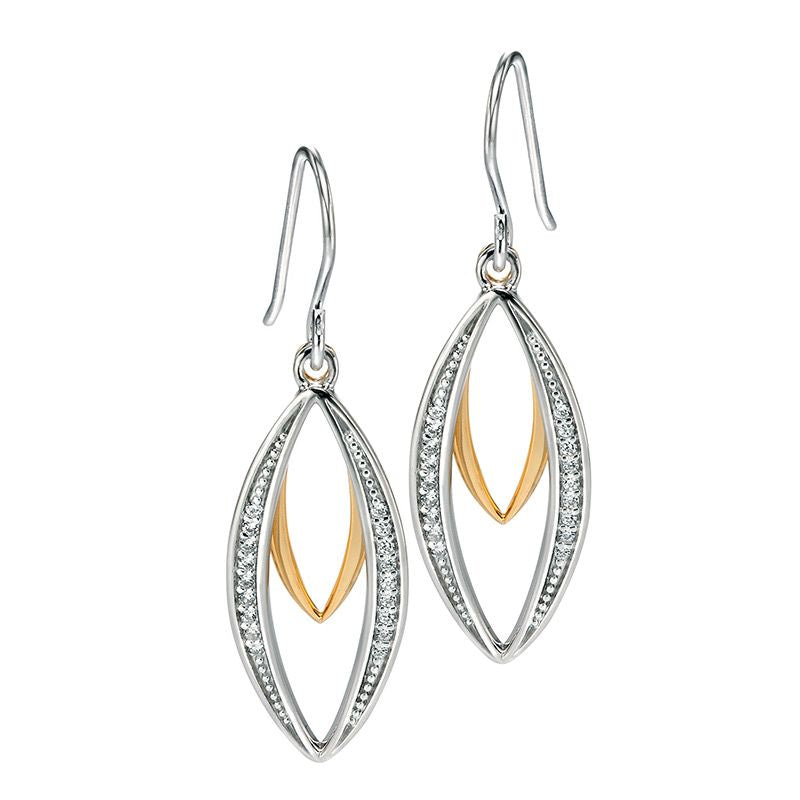 Fiorelli Silver Gold Plated Double Marquise CZ Earrings E4678C - Hollins and Hollinshead