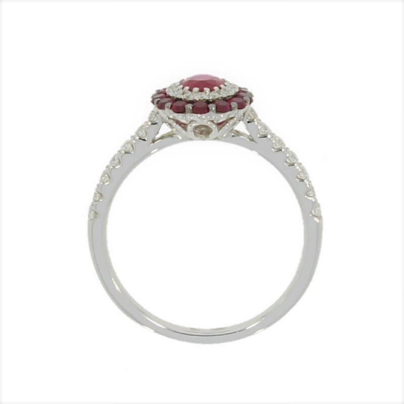 18ct White Gold Ruby and Diamond Multi Stone Cluster Ring - Hollins and Hollinshead