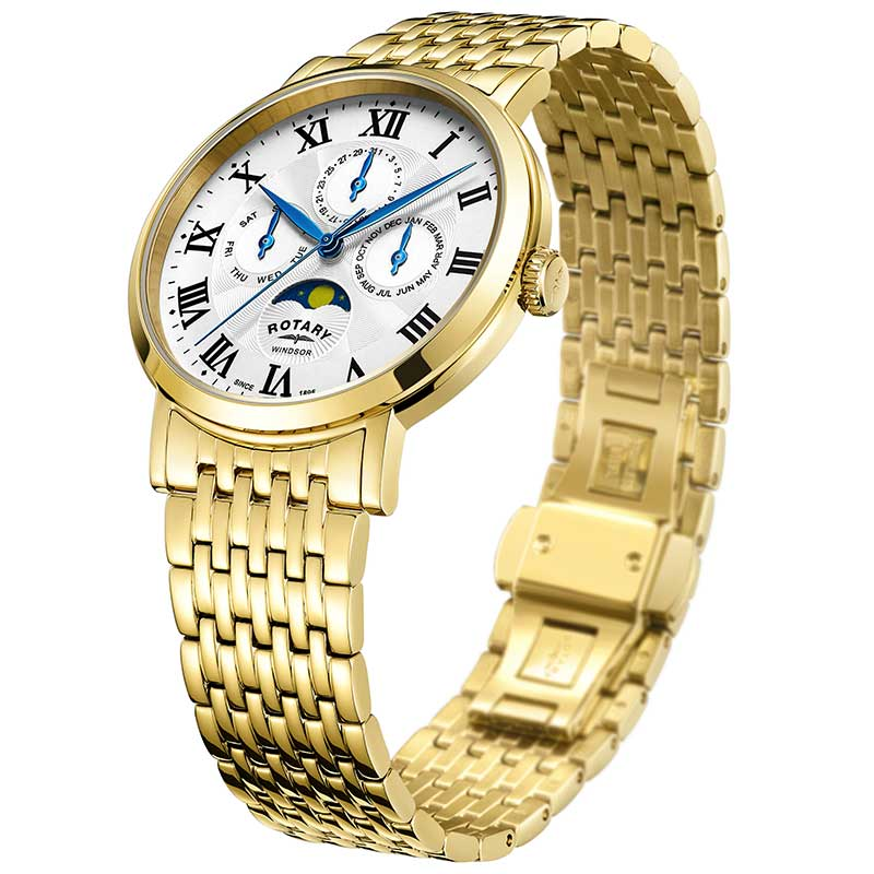 Rotary Windsor Gold Plated Moonphase Mens Watch GB05328/01 - Hollins and Hollinshead