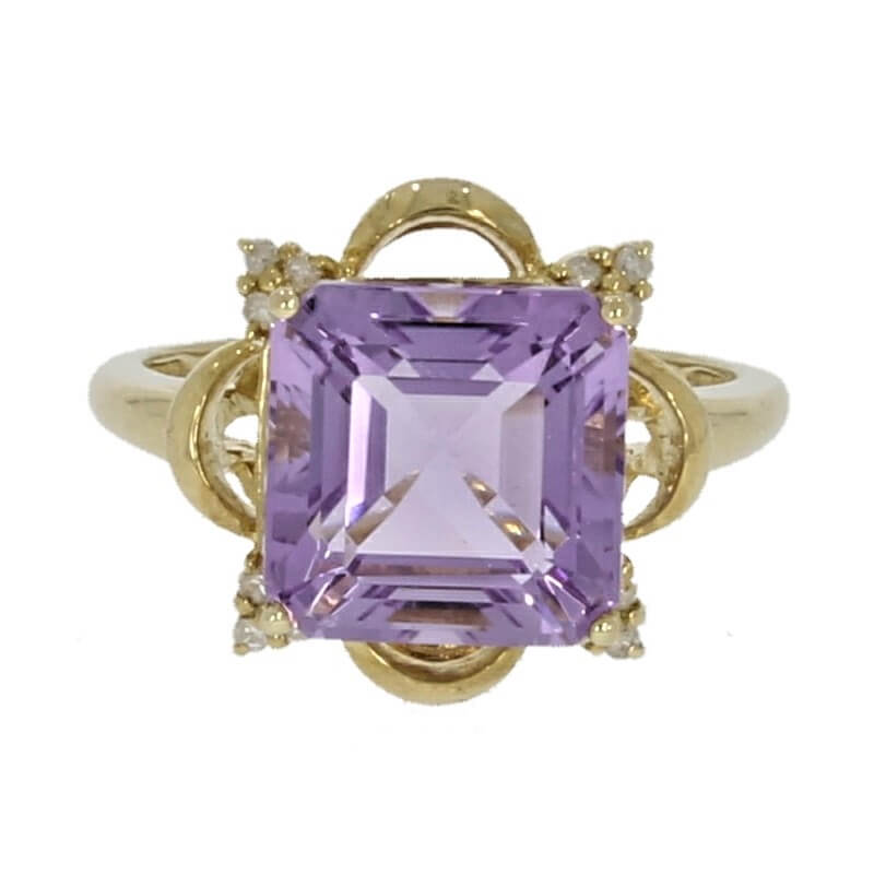 9ct Yellow Gold Amethyst & 0.07cts Diamond Dress Ring - Hollins and Hollinshead