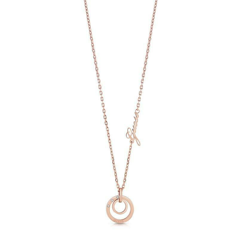 Guess Eternal Circles Rose Gold Plated Necklace UBN29036 - Hollins and Hollinshead