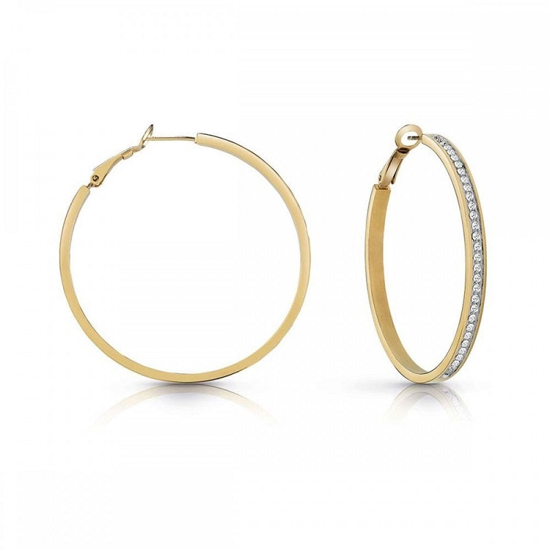 Guess All Around Guess Gold Plated Hoop Earrings UBE28095 - Hollins and Hollinshead
