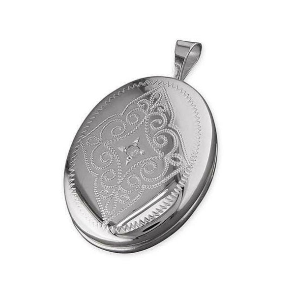 Sterling Silver Ladies Locket Pendant with Diamond and Chain