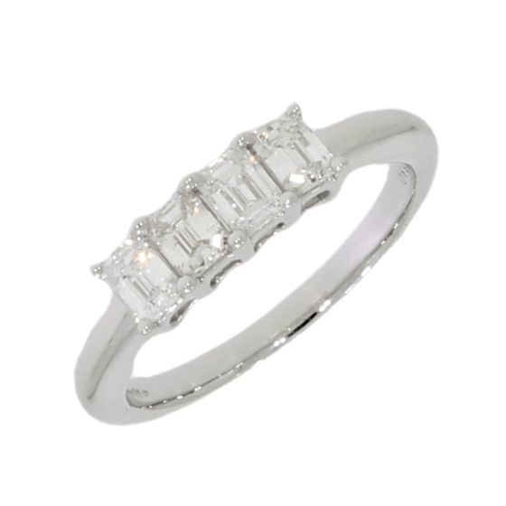 18ct White Gold 0.86ct Emerald Cut Diamond 4 Stone Ring - Hollins and Hollinshead