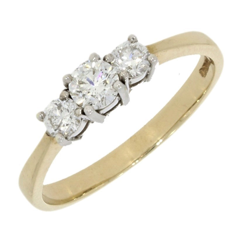 9ct Yellow Gold 0.56ct Diamond Graduated Trilogy Ring - Hollins and Hollinshead