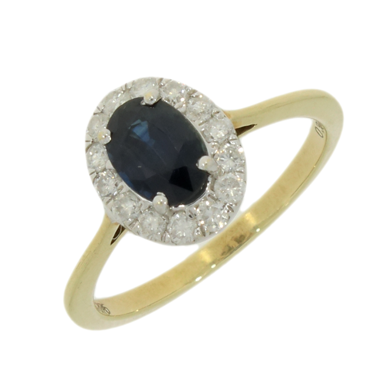 9ct Yellow Gold Sapphire & Diamond 0.30cts Cluster Ring - Hollins and Hollinshead