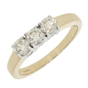 9ct Yellow Gold 0.72ct Diamond Trilogy Ring - Hollins and Hollinshead