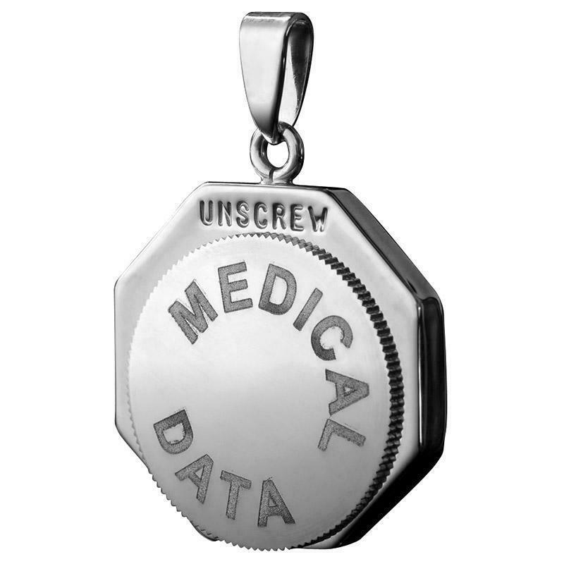 Infomedic Stainless Steel Octagon Medical ID Pendant SSOCTAGON - Hollins and Hollinshead