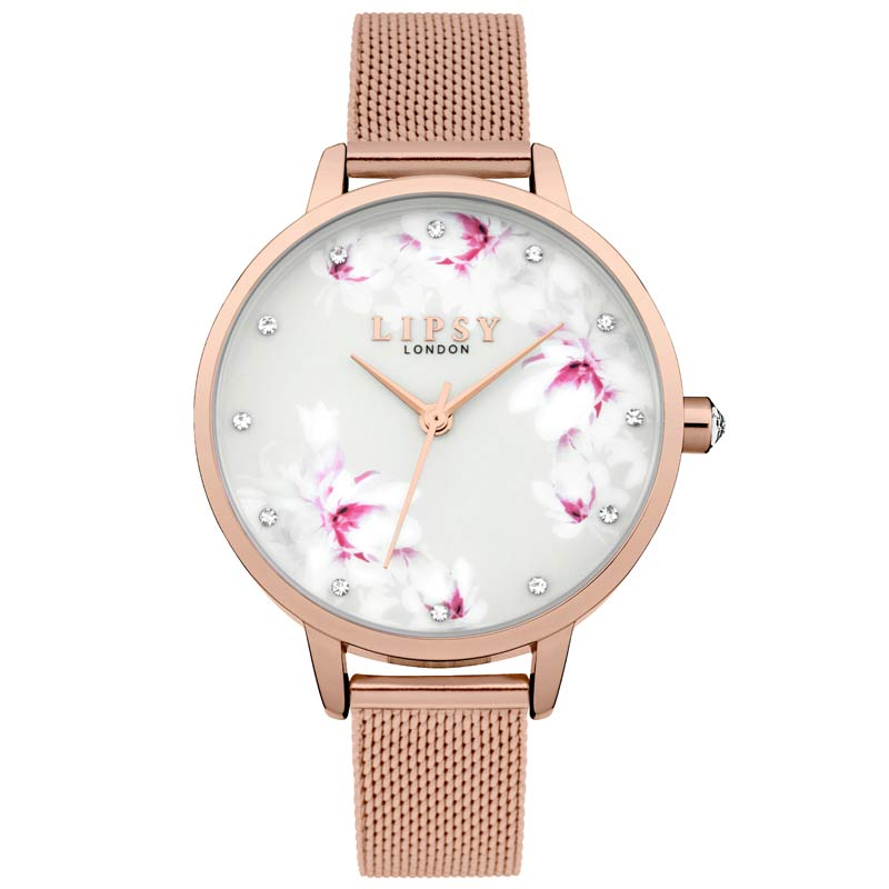 Lipsy Floral Rose Gold Plated Ladies Watch LP577 - Hollins and Hollinshead
