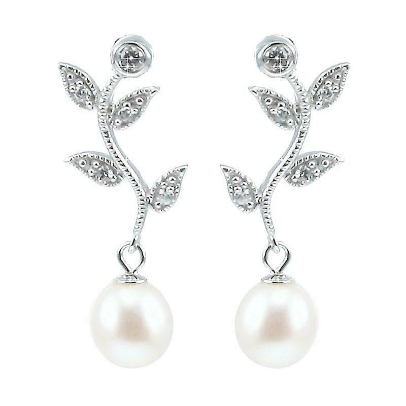 Lido Pearls White Freshwater Pearl CZ Leaf Drop Earrings C22E - Hollins and Hollinshead