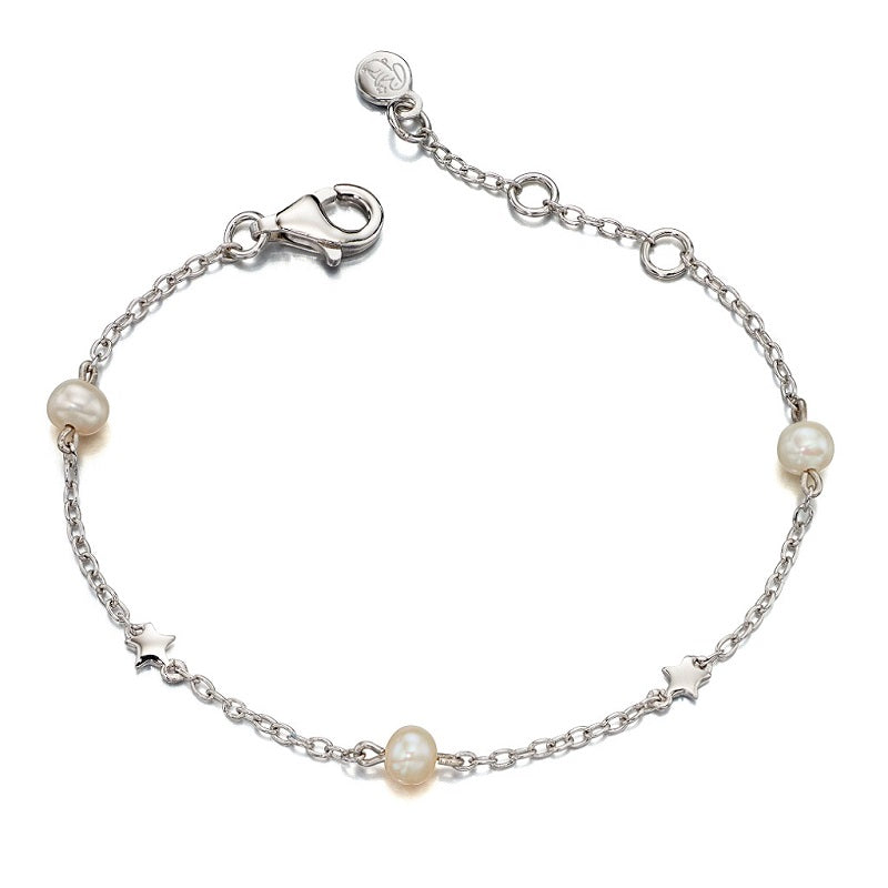 Little Star Anja Sterling Silver Star and Pearl Bracelet LSB0038 - Hollins and Hollinshead