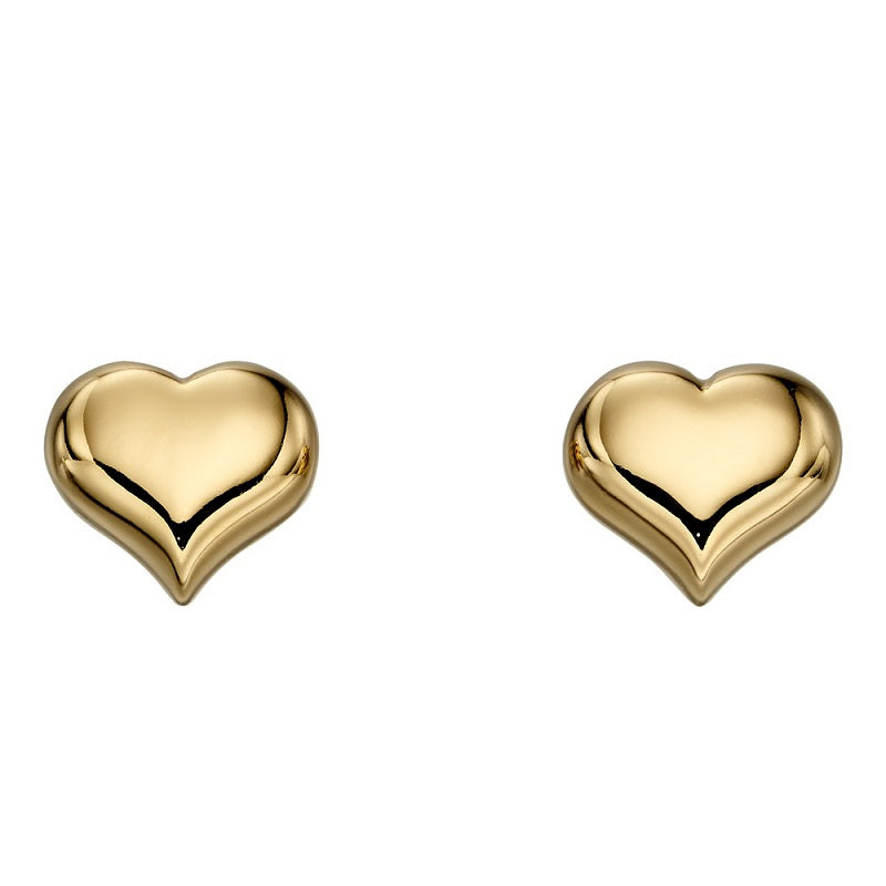 Little Star Aria Gold Plated Sterling Silver Heart Stud Earrings LSE0155 - Hollins and Hollinshead