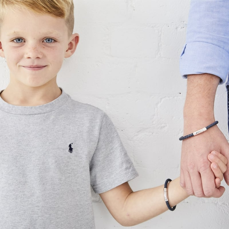 Little Star Andre Sterling Silver and Leather Boys Bracelet LSB0087B - Hollins and Hollinshead