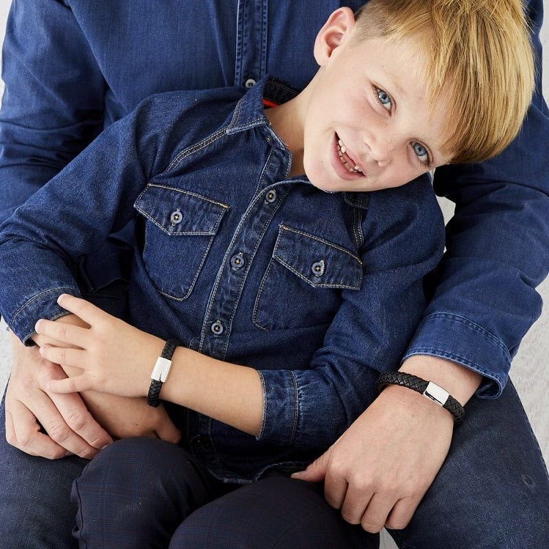 Little Star Harley Stainless Steel and Leather Boys Bracelet LSB0125 - Hollins and Hollinshead