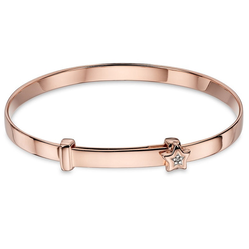 Little Star Gracie Diamond Star Rose Gold Plated Baby Bangle LSB0102 - Hollins and Hollinshead
