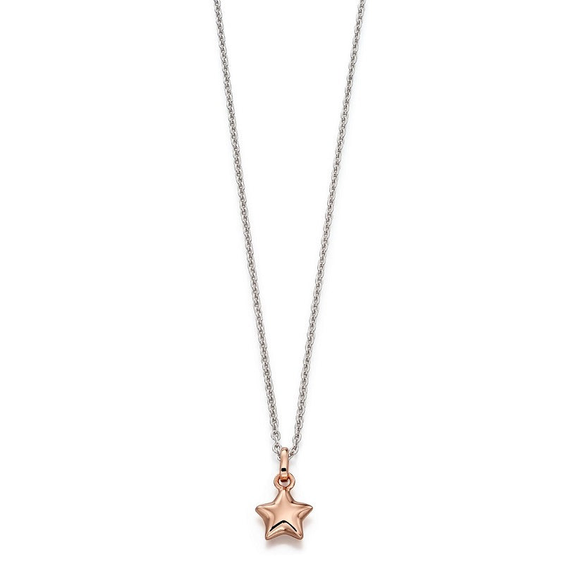 Little Star Harper Sterling Silver Rose Gold Plated Star Necklace LSN0049 - Hollins and Hollinshead