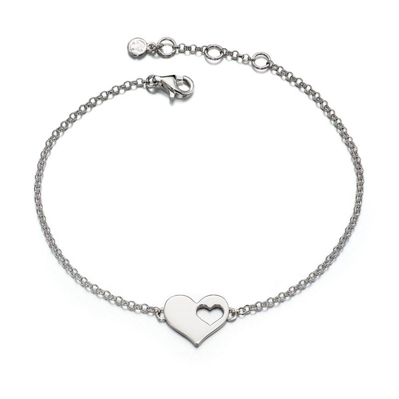 Little Star Poppy Sterling Silver Cut Out Heart Bracelet LSB0061 - Hollins and Hollinshead