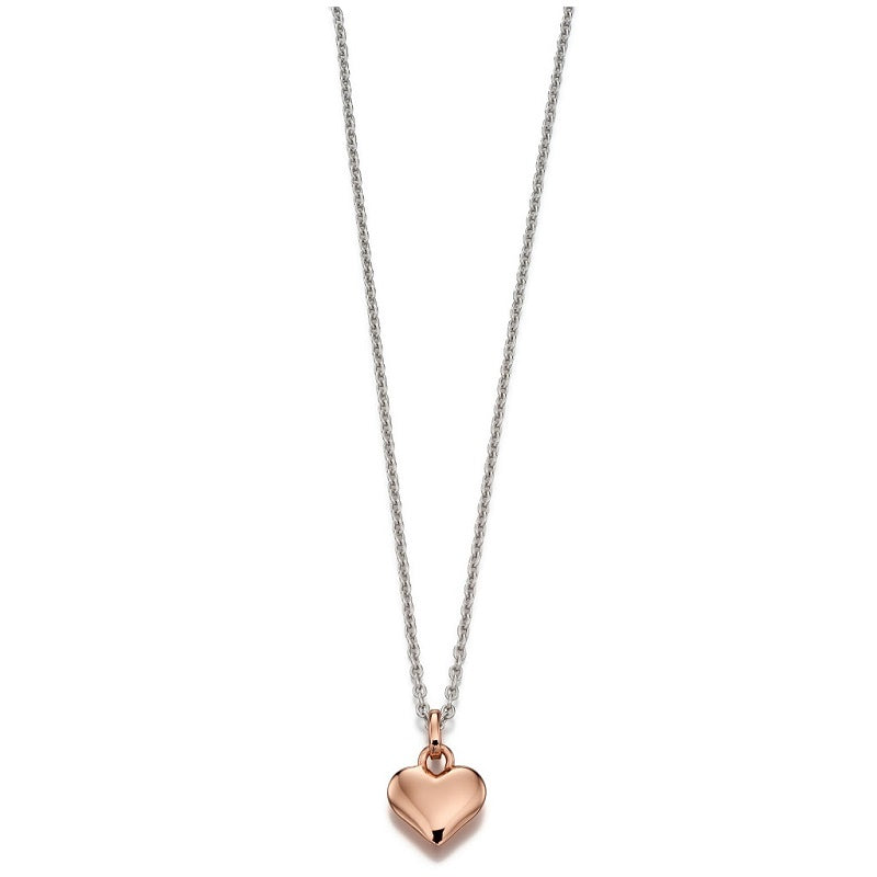 Little Star Skyler Sterling Silver Rose Gold Plated Heart Necklace LSN0058 - Hollins and Hollinshead