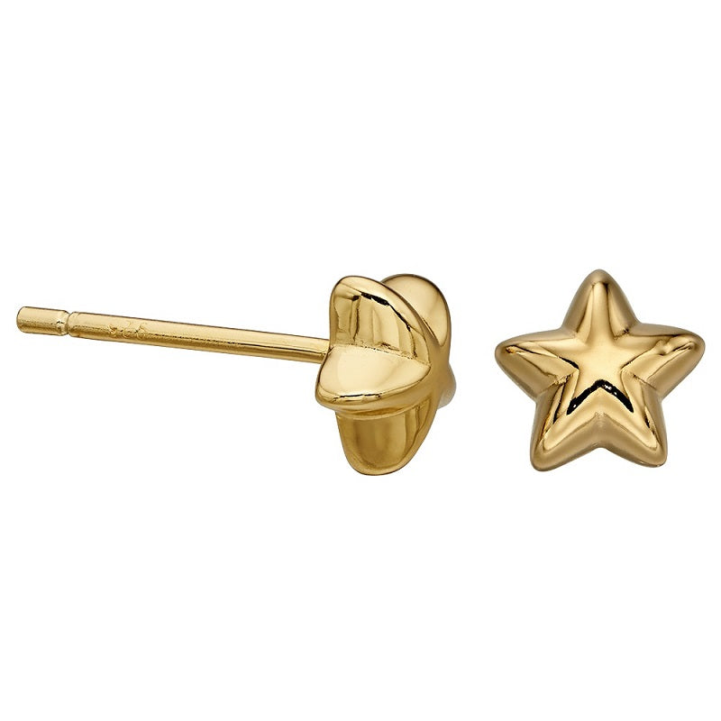 Little Star Sophie Gold Plated Sterling Silver Star Stud Earrings LSE0154 - Hollins and Hollinshead