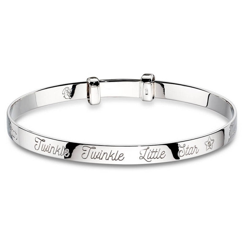 Little Star Twinkle Diamond Sterling Silver Baby Bangle LSB0024 - Hollins and Hollinshead