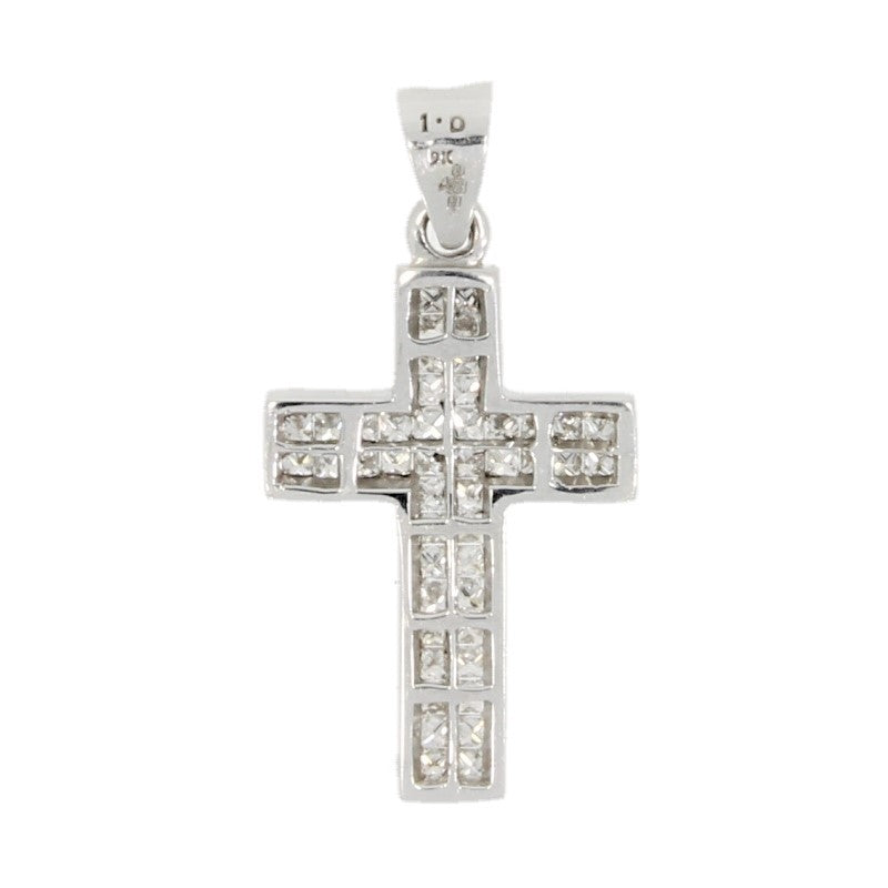 9ct White Gold 1.00ct Diamond Set Cross Pendant - Hollins and Hollinshead