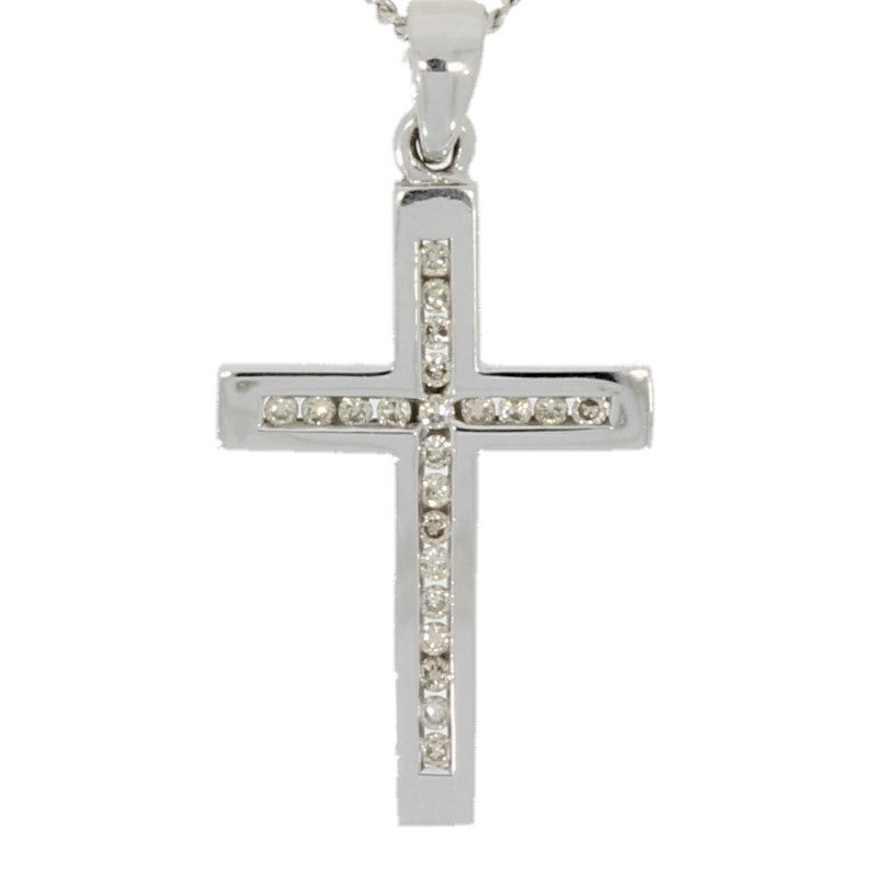 Pre Owned 9ct White Gold 0.25ct Diamond Set Cross Pendant & Chain - Hollins and Hollinshead