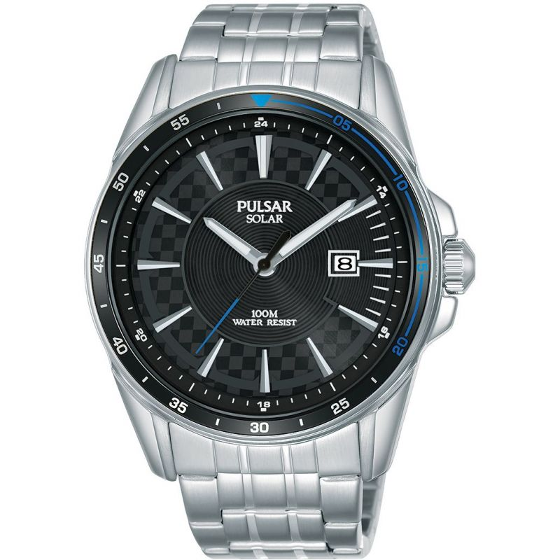 Pulsar Solar Black Dial Mens Watch PX3203X1 - Hollins and Hollinshead