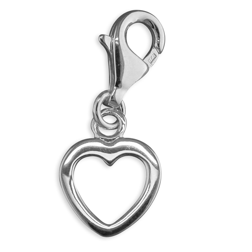 Sterling Silver Open Heart Charm - Hollins and Hollinshead