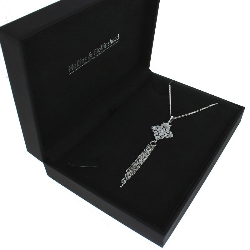 Sterling Silver CZ Fancy Tassle Pendant and Chain - Hollins and Hollinshead