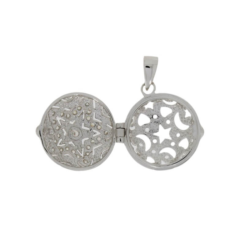 Sterling Silver CZ Star Pattern Ladies Locket and Chain R8665/C - Hollins and Hollinshead
