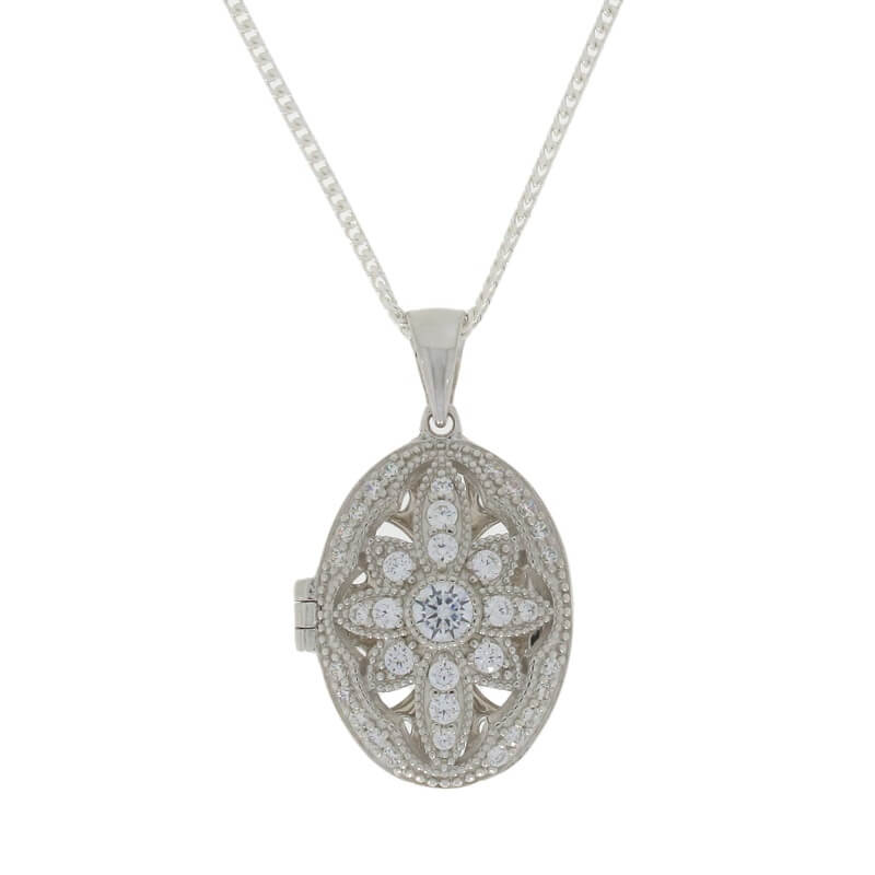 Sterling Silver CZ Vintage Flower Design Locket and Chain - Hollins and Hollinshead
