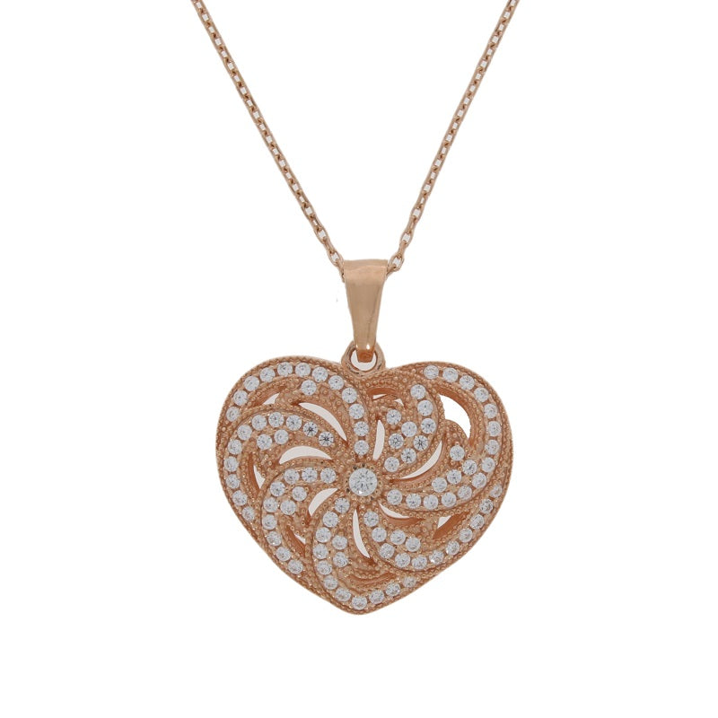 Sterling Silver Rose Gold Plated CZ Heart Ladies Necklace - Hollins and Hollinshead