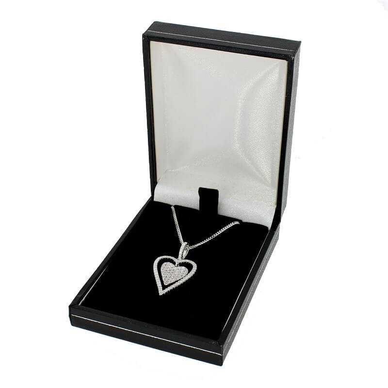 Sterling Silver Cubic Zirconia Double Heart Pendant & Chain - Hollins and Hollinshead