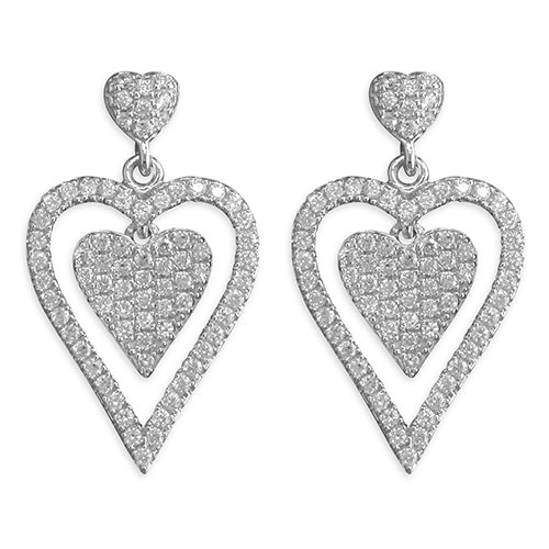 Sterling Silver Cubic Zirconia Double Heart Ladies Drop Earrings - Hollins and Hollinshead