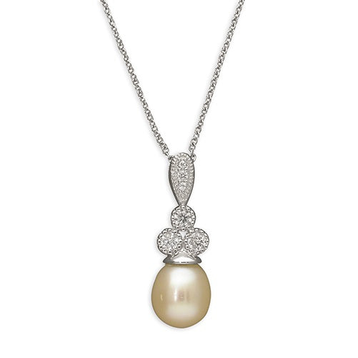 Sterling Silver White Freshwater Pearl & Cubic Zirconia Ladies Pendant Necklace - Hollins and Hollinshead