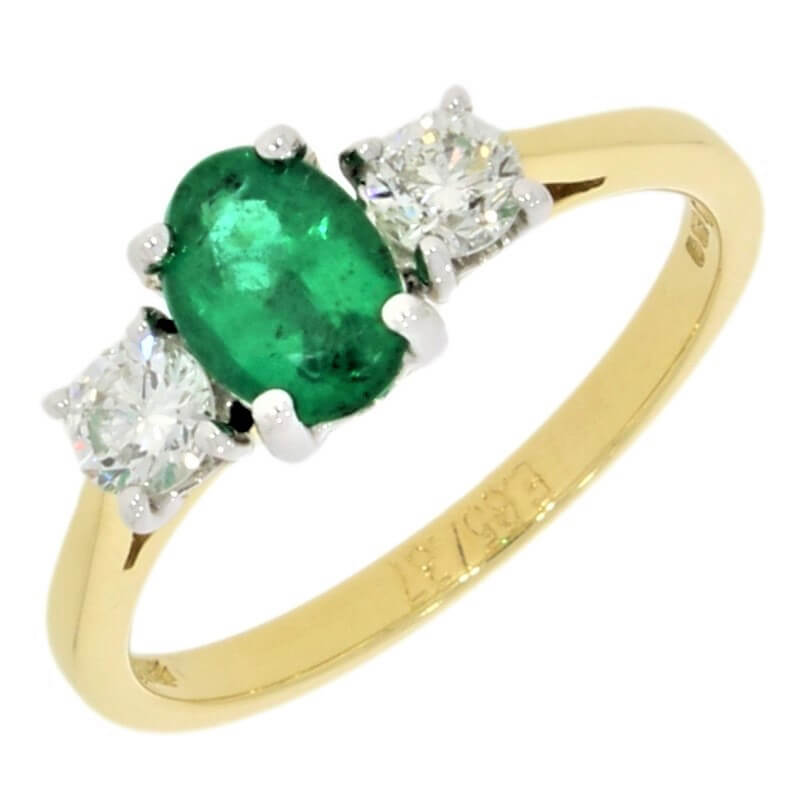 18ct Yellow Gold Emerald and Diamond Trilogy Ring - Hollins and Hollinshead