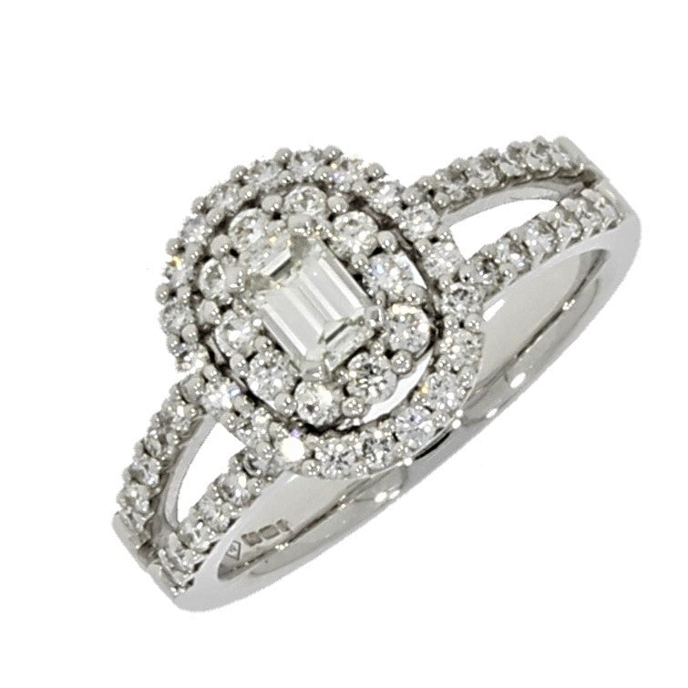 18ct White Gold 1.05ct Diamond Cluster Ring - Hollins and Hollinshead