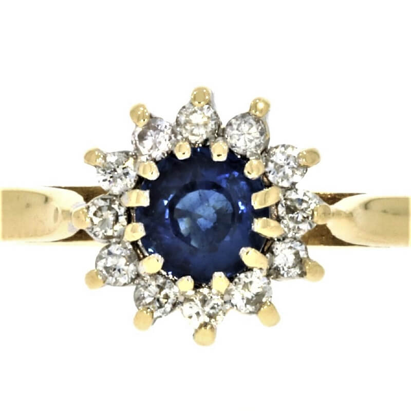 Pre Owned 9ct Yellow Gold Sapphire & Diamond Cluster Ring - Hollins and Hollinshead