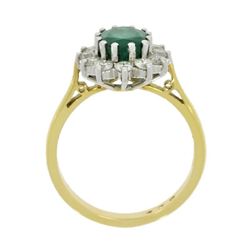 18ct Yellow Gold 1.50ct Emerald & 0.54 Diamond Cluster Ring - Hollins and Hollinshead
