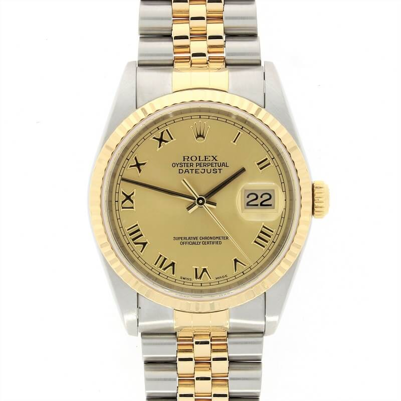 Pre Owned Rolex Oyster Perpetual Datejust 36 Bi-Metal Mens Watch 16233 RW0323 Papers (2000) - Hollins and Hollinshead
