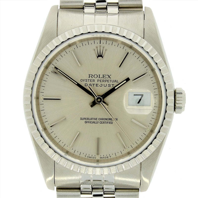 Pre Owned Rolex Oyster Perpetual Datejust 36 Steel Mens Watch 166220 RW0350 (1991) - Hollins and Hollinshead