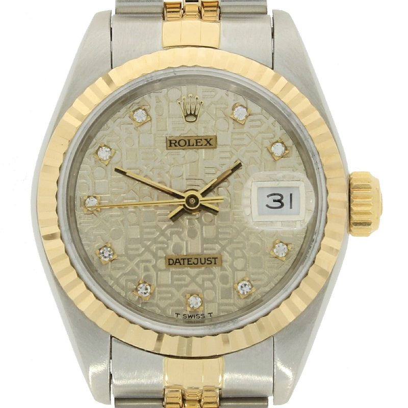 Pre Owned Rolex Oyster Perpetual Datejust Bi Metal Diamond Ladies Watch 69173 RW0360 Papers (1992) Face