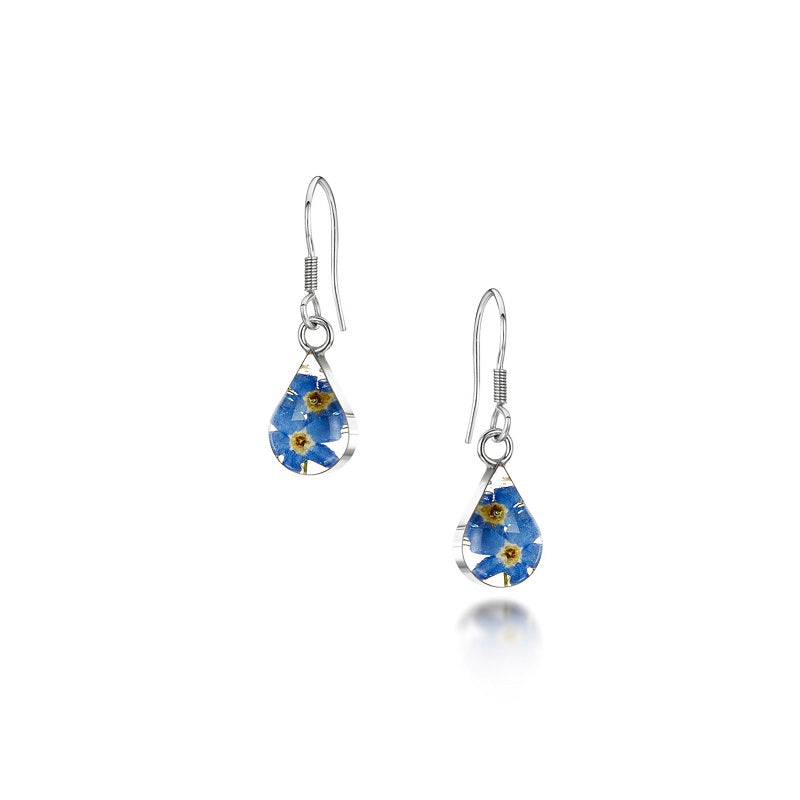 Shrieking Violet Real Flower Forget Me Not Drop Earrings FE01 - Hollins and Hollinshead
