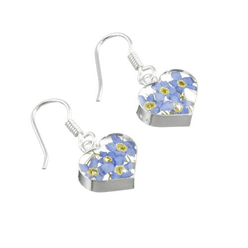 Shrieking Violet Real Flower Forget Me Not Drop Earrings FE02 - Hollins and Hollinshead